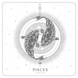 Modern magic witchcraft card with astrology Pisces zodiac sign. Koi fish illustration in polygonal style