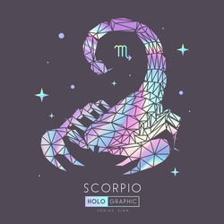 Modern magic witchcraft card with astrology Scorpio zodiac sign. Holographic Scorpion illustration in polygonal style