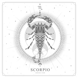 Modern magic witchcraft card with astrology Scorpio zodiac sign. Scorpion illustration in polygonal style
