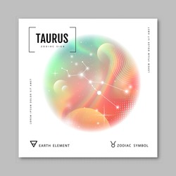 Modern magic witchcraft card with astrology Taurus zodiac constellation on holographic flow background