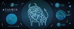 Modern magic witchcraft card with astrology Taurus zodiac sign. Polygonal bull illustration. Zodiac characteristic
