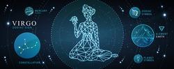 Modern magic witchcraft card with astrology Virgo zodiac sign. Polygonal woman head. Zodiac characteristic