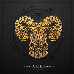Modern magic witchcraft card with golden astrology Aries zodiac sign. Golden Ram or mouflon head in polygonal style on black background