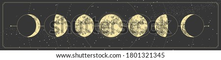 Modern magic witchcraft card with moon phases. Pagan moon symbol. Vector illustration Stock photo ©