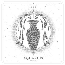 Modern magic witchcraft card with polygon astrology Aquarius zodiac sign. Polygonal water jug illustration
