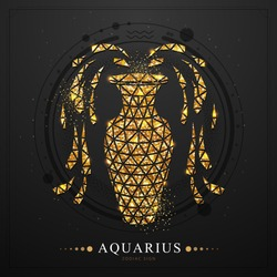 Modern magic witchcraft card with polygon golden astrology Aquarius zodiac sign. Golden Polygonal water jug illustration on black background