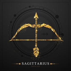Modern magic witchcraft card with polygonal astrology golden Sagittarius zodiac sign. Polygonal golden Bow and arrow illustration on black background