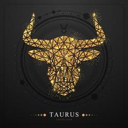 Modern magic witchcraft card with polygonal  astrology golden Taurus zodiac sign. Golden Polygonal bull head on black background