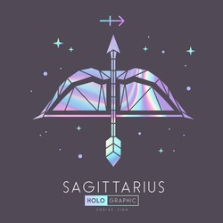 Modern magic witchcraft card with polygonal astrology Sagittarius zodiac sign. Holographic Polygonal Bow and arrow illustration