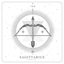 Modern magic witchcraft card with polygonal astrology Sagittarius zodiac sign. Polygonal Bow and arrow illustration