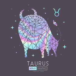 Modern magic witchcraft card with polygonal  astrology Taurus zodiac sign. Holographic Polygonal bull head