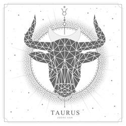 Modern magic witchcraft card with polygonal  astrology Taurus zodiac sign. Polygonal bull head
