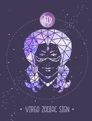 Modern magic witchcraft card with polygonal astrology Virgo zodiac sign. Polygonal woman head