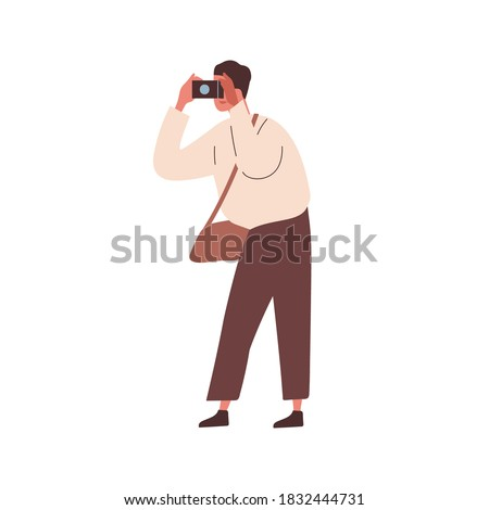 Modern man photographing. Male photographer taking picture. Tourist hold camera. Young reporter taking photo. Flat vector cartoon illustration isolated on white Сток-фото ©