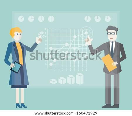 Modern management and business process. Virtual desktop. Flat design style - vector illustration