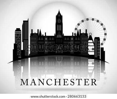 modern manchester city skyline