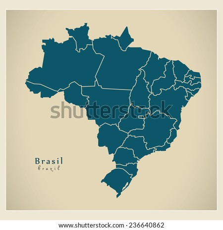 Shutterstock Modern Map - Brasil with districts BR