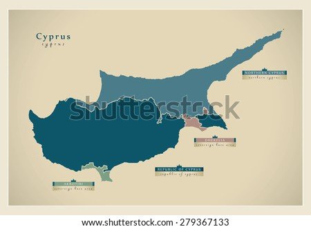 Modern Map - Cyprus the divided island CY