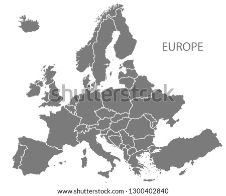 Modern Map - Europe with updated states from 2019 in grey