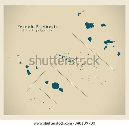 modern map   french polynesia pf
