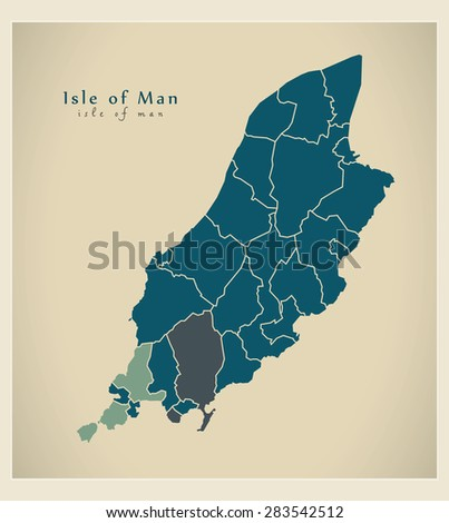 modern map   isle of man with