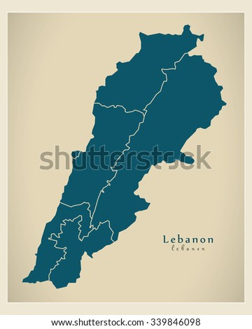 Modern Map - Lebanon with governorates LB