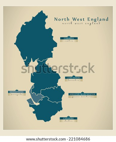 modern map   north west england