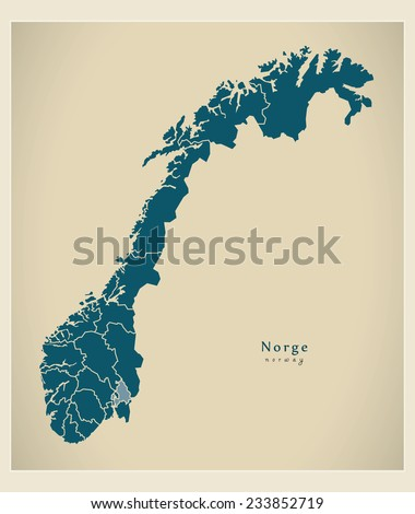 modern map   norway with