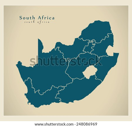 Modern Map - South Africa with provinces ZA