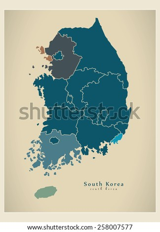 modern map   south korea with