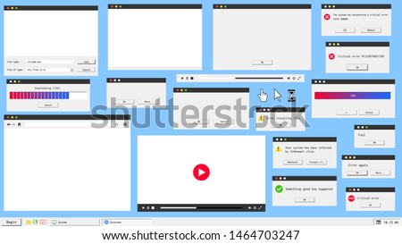 Modern material design user interface windows. Web browser, video and audio player, error message and system dialog box.
