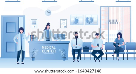 Modern medical clinic reception interior with furniture. Group of people waiting line queue. Doctor specialist,female receptionist and patients. Various clients in hospital. Trendy vector illustration