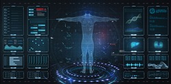 Modern medical examination HUD, UI, GUI style. Human body scan  Anatomy, ECG monitor, Dna formula. element medical examination. Display set virtual interface elements. Modern medical examination style