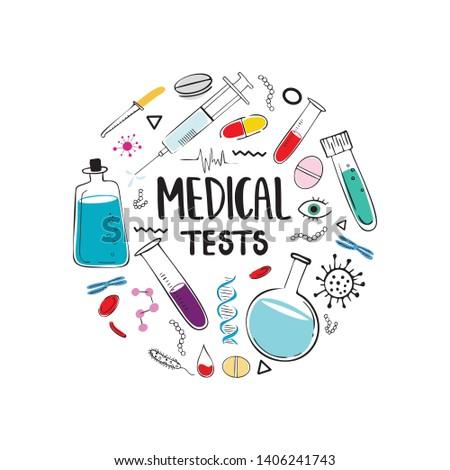 Modern medical hand drawn vector illustration. Medical tests, blood test, DNA test, test equipment, test tubes and flasks. Medicine and healthcare concept, medicinal treatment, for graphic design.