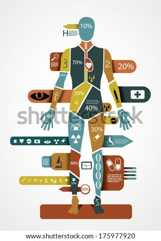 Shutterstock Modern medical infographic with abstract human body