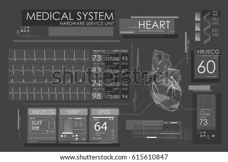 Modern medical interface for monitoring the scanning and analysis of heart disease.  Futuristic user interface. Abstract virtual graphic touch user interface for medical. HUD   for motion design