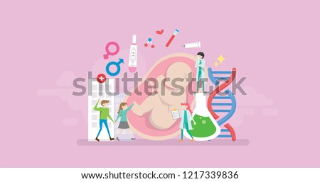 Modern Medical Pregnancy Fertility Clinic Tiny People Character Concept Vector Illustration, Suitable For Wallpaper, Banner, Background, Card, Book Illustration, And Web Landing Page
