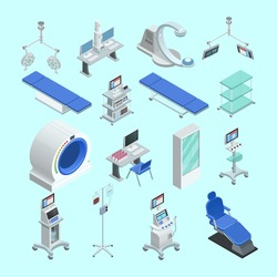 Modern medical surgery and examination rooms equipment with scanner  monitor and operation table abstract isolated vector illustration