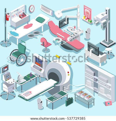 Modern medical surgery and examination rooms isometric equipment with scanner monitor and operation table abstract isolated vector illustration Hospital equipment and furniture.