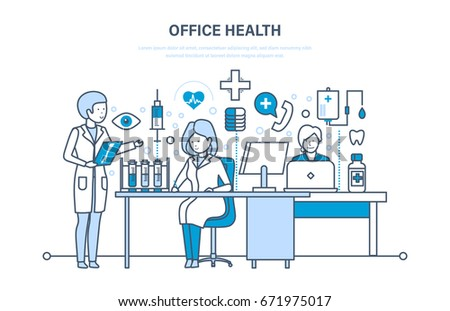 Modern medicine and healthcare system, office health, working atmosphere, health of employees, consultation, meeting of doctors. Illustration thin line design of vector doodles, infographics elements.