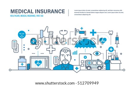 Modern medicine and technology, medical care, healthcare and medical insurance, protect and guarantee safety patients, first aid, ambulance. Illustration of vector doodles, infographics elements.