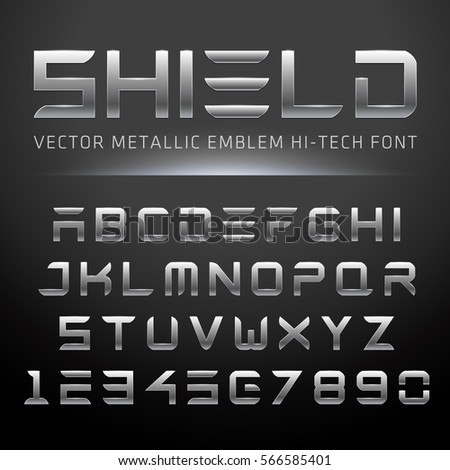 Modern Metallic Hi-Tech Font. Vector Techno Alphabet done in shiny metal.