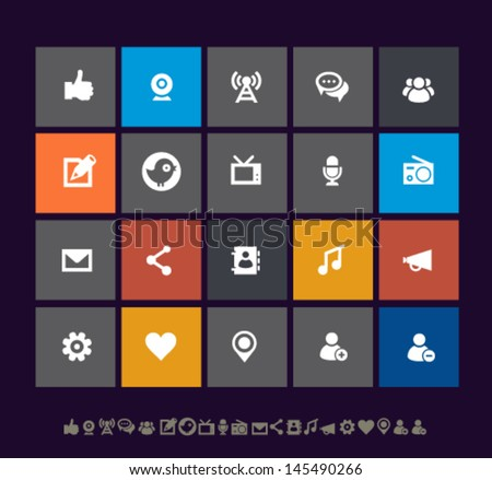 Modern metro social network icons, for mobile devices and contemporary interfaces