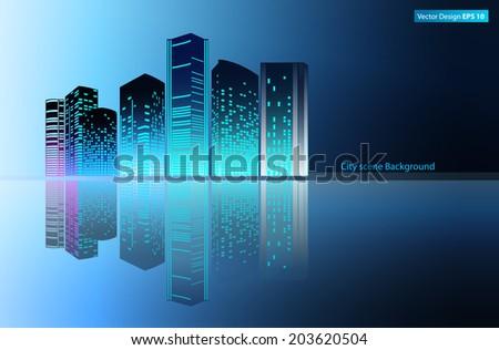 modern metropolis city at night