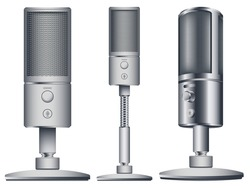 Modern microphones in different styles. Microphones collection in realistic style for voice record. Equipment for audio podcast broadcast or music. Isolated vector illustration. 3d on white background.
