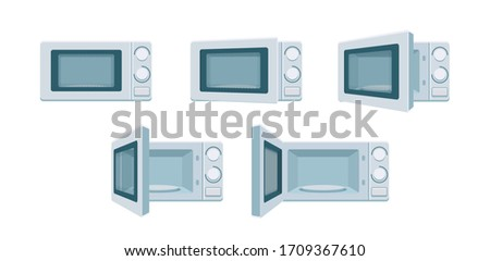 Modern microwave set ready for animation. Open and close oven poses in front view. Degree of openness Cooking stove, vector kitchen appliance. Digital concept illustration isolated on white background