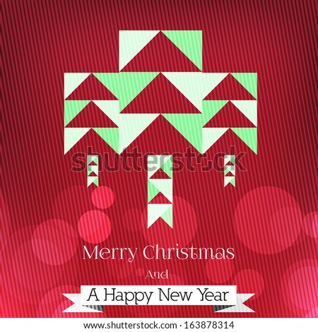 Modern Minimal Abstract Christmas Tree Background - Vector Illustration