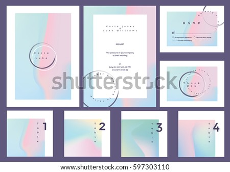 Modern minimal colorful wedding collection in pink and blue color combinations