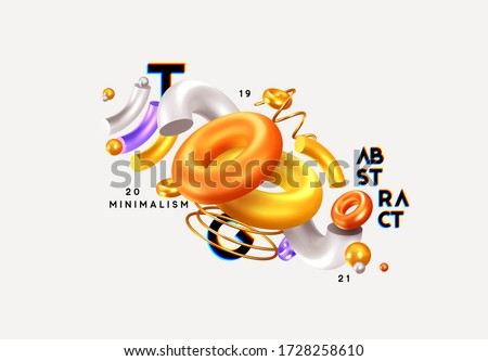 Modern minimal design with realistic 3d render objects. Abstract background. Art trend poster. Vector illustration