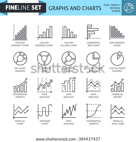 Modern minimal flat thin line charts and diagrams finance icon set. Statistic analysis, research graphs vector concept. For mobile app, web, banner, poster, flyer
